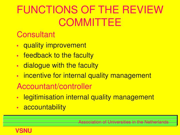 FUNCTIONS OF THE REVIEW COMMITTEE