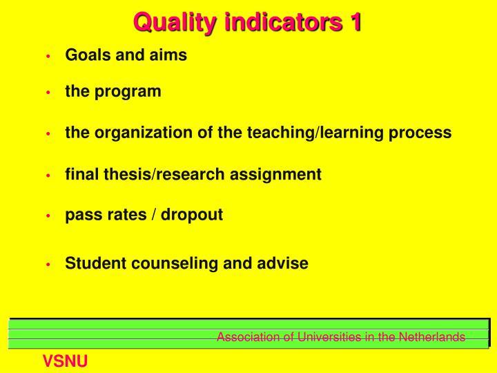 Quality indicators 1