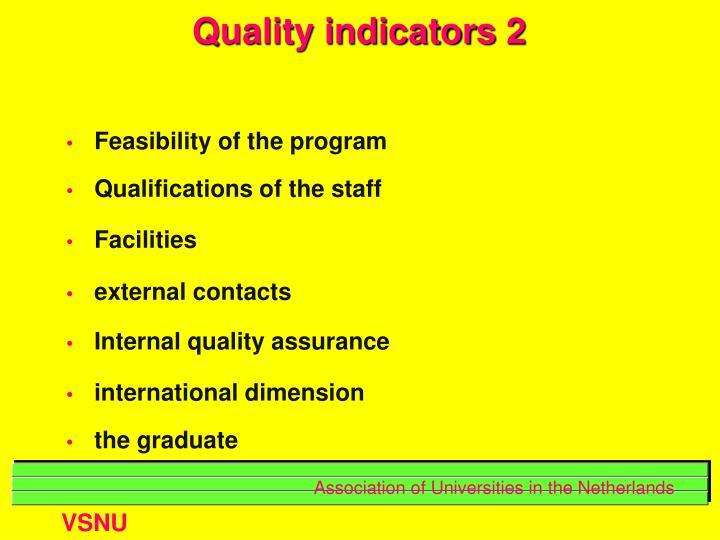 Quality indicators 2