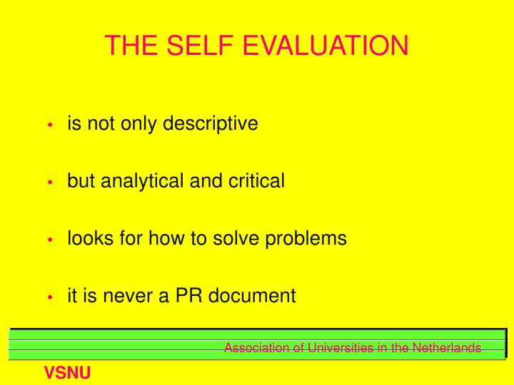 THE SELF EVALUATION