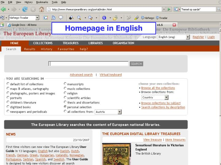 Homepage in English