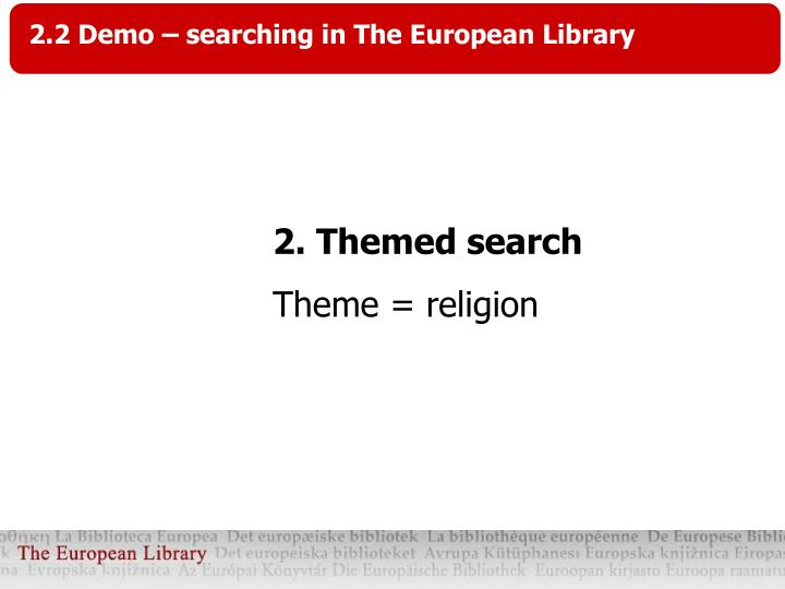 2.2 Demo – searching in The European Library