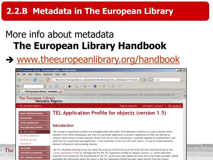 2.2.B  Metadata in The European Library