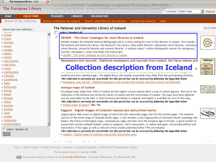 Collection description from Iceland