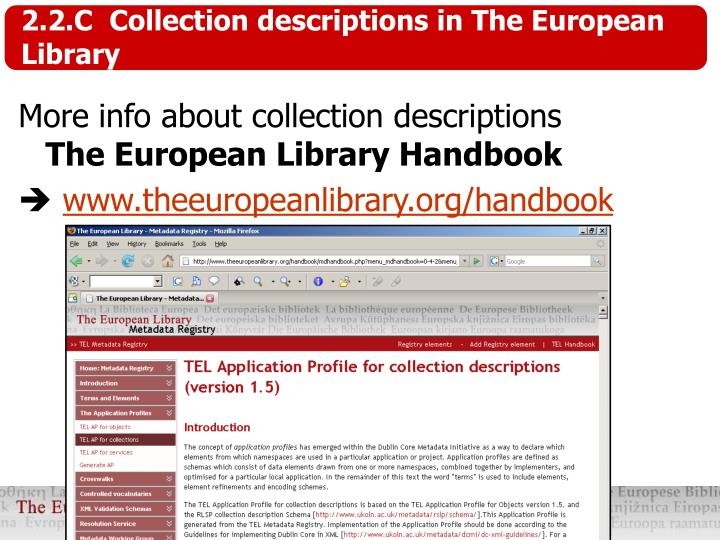2.2.C  Collection descriptions in The European Library