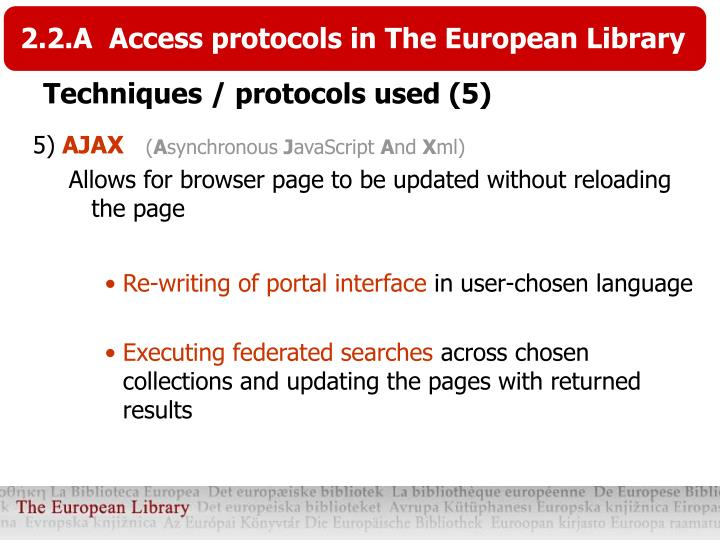 2.2.A  Access protocols in The European Library