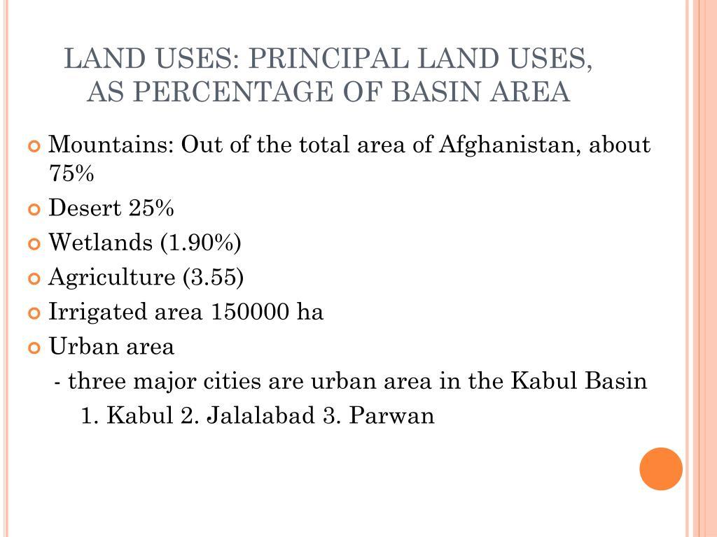 LAND USES: PRINCIPAL LAND USES, AS PERCENTAGE OF BASIN AREA