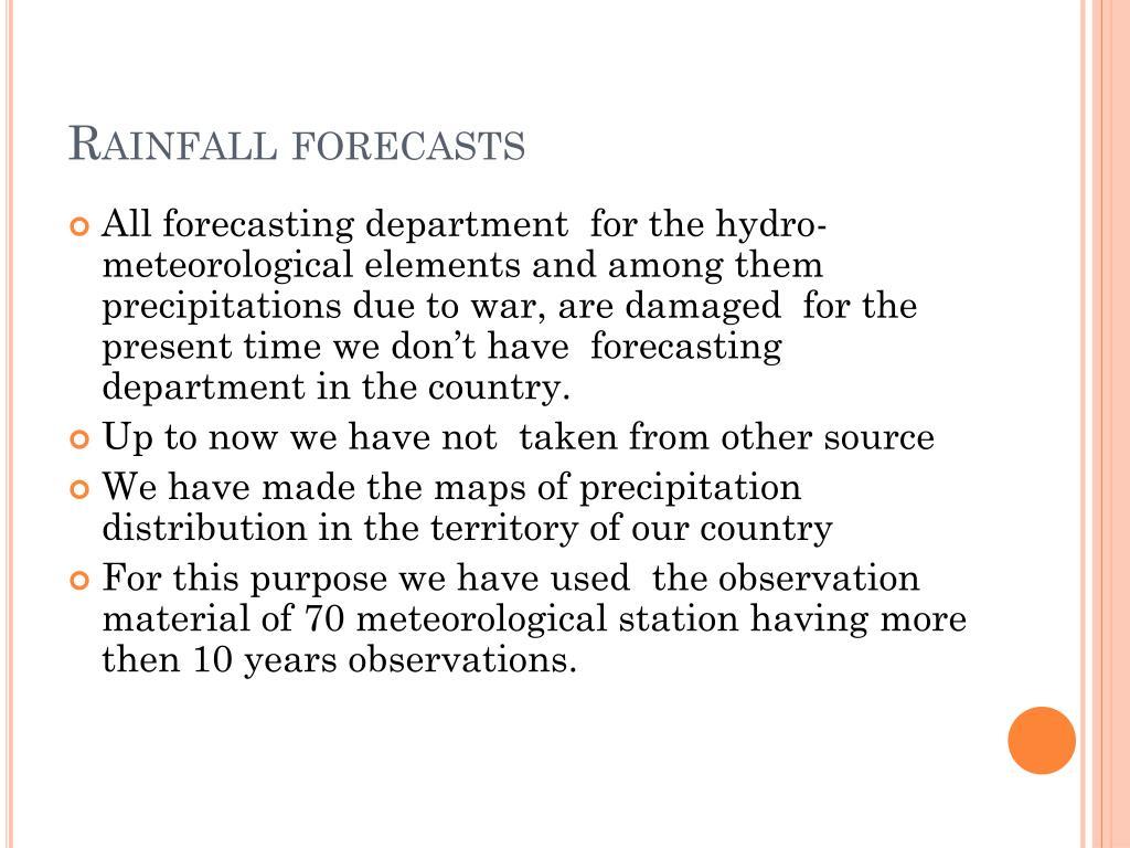 Rainfall forecasts