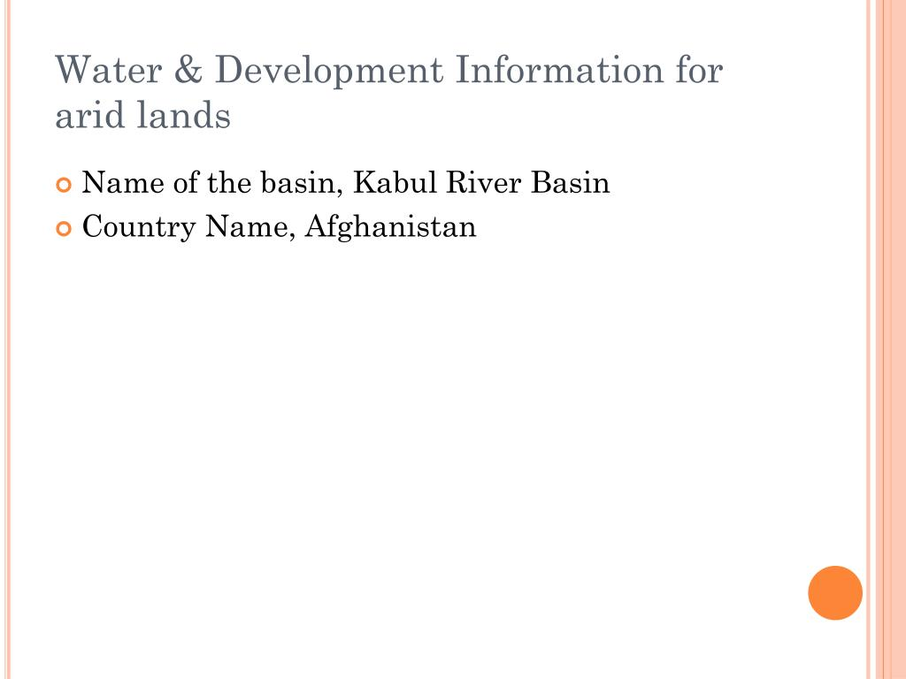 Water & Development Information for arid lands