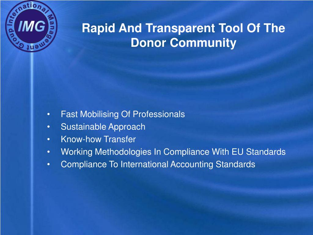 Rapid And Transparent Tool Of The Donor Community
