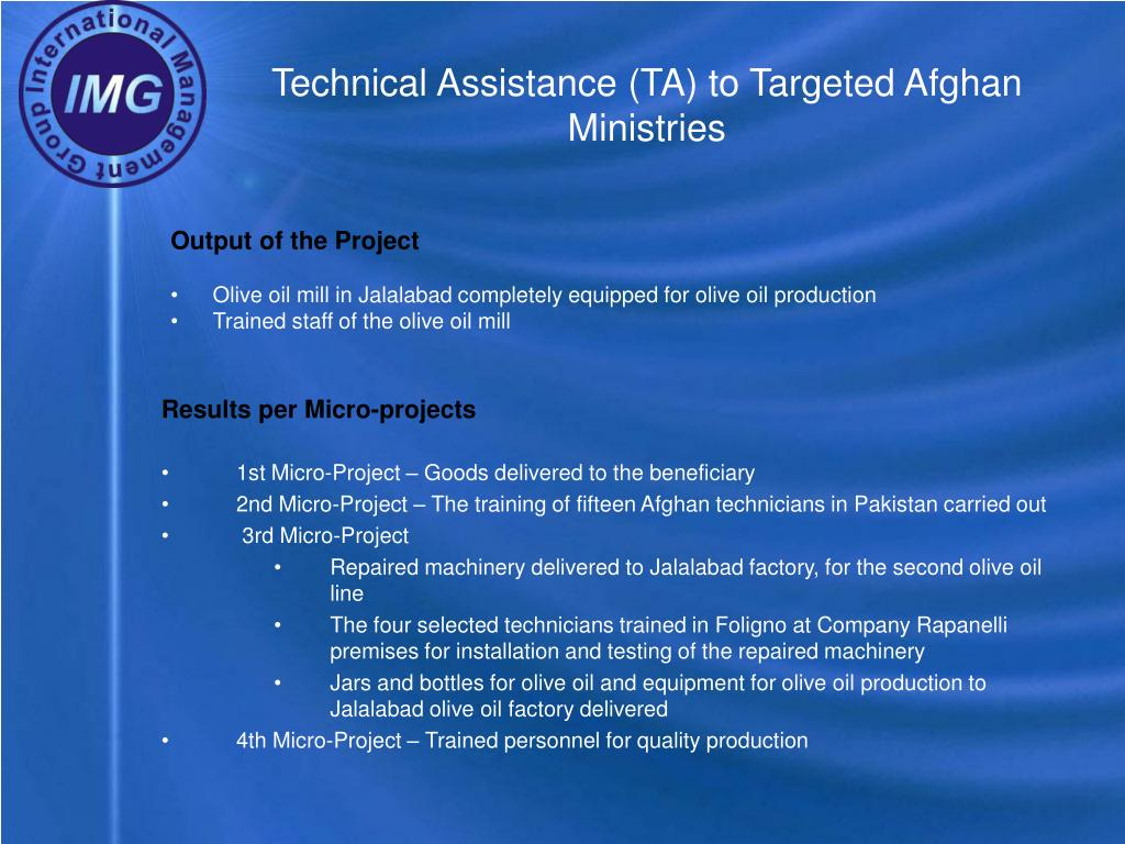 Technical Assistance (TA) to Targeted Afghan Ministries