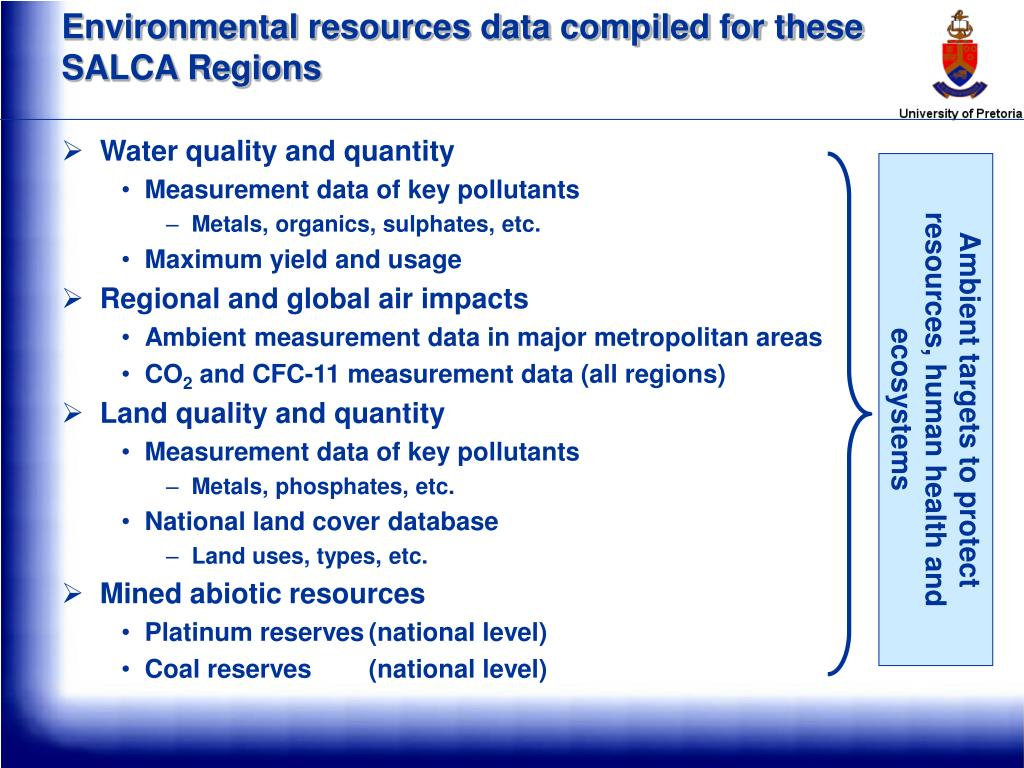 Environmental resources data compiled for these SALCA Regions