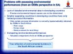 problems with assessing environmental performances from an oems perspective in sa