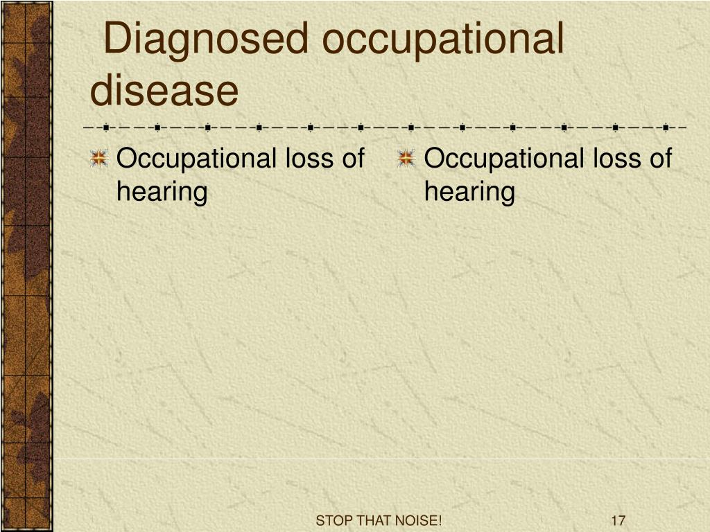 Occupational loss of hearing