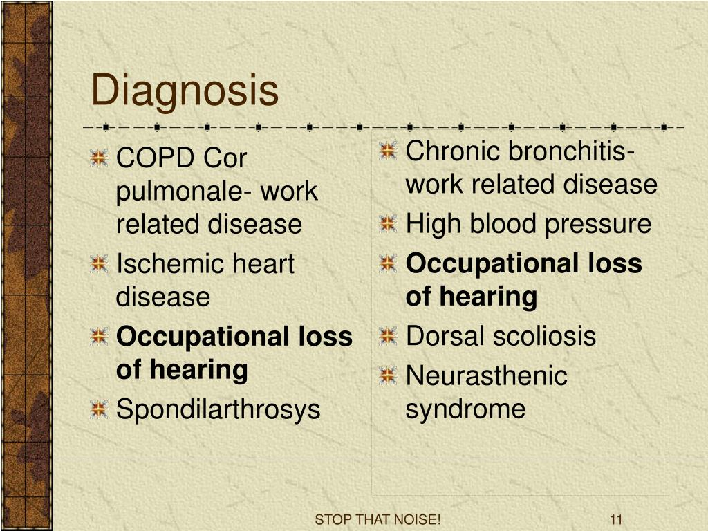 COPD Cor pulmonale- work related disease