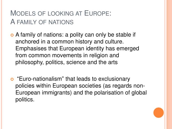 Models of looking at Europe: