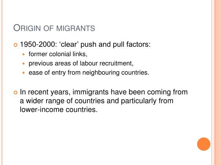 Origin of migrants