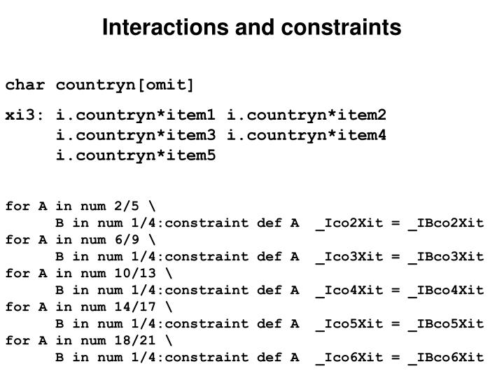 Interactions and constraints