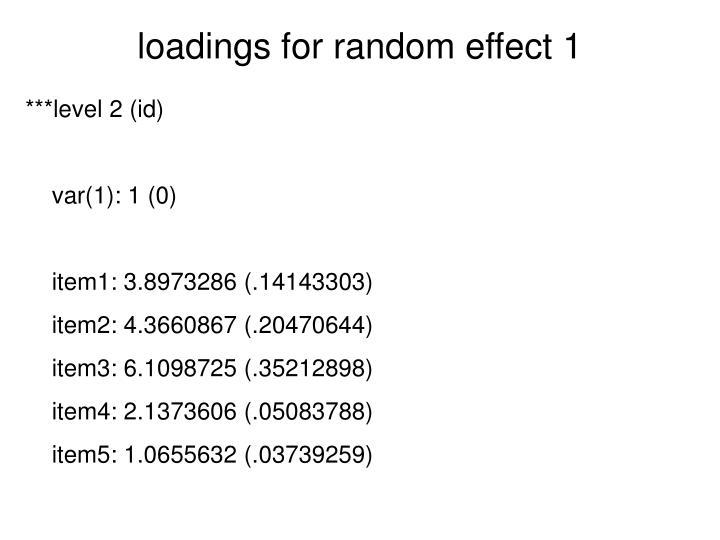 loadings for random effect 1