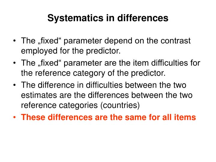 Systematics in differences