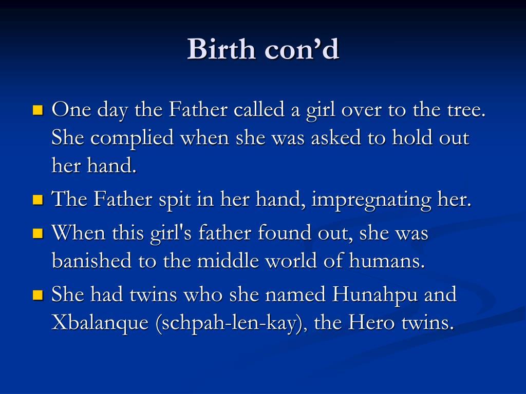 Birth con'd