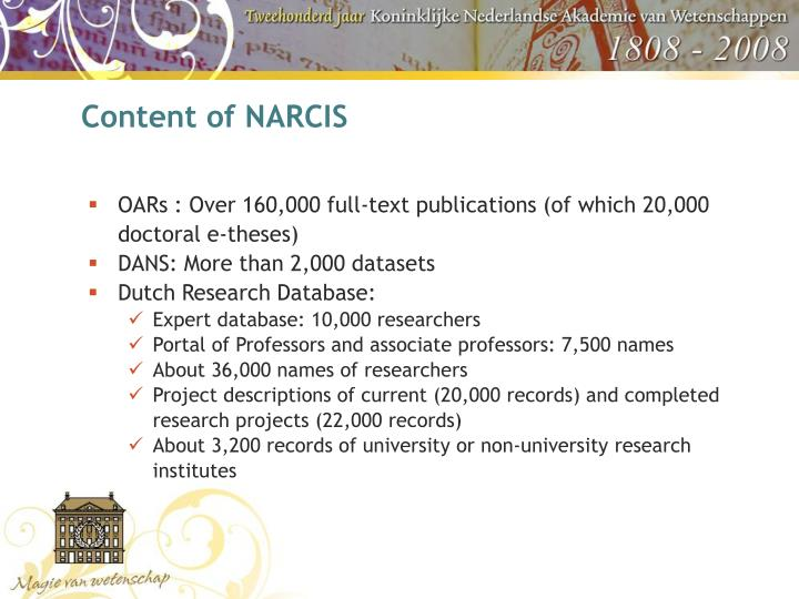 Content of NARCIS