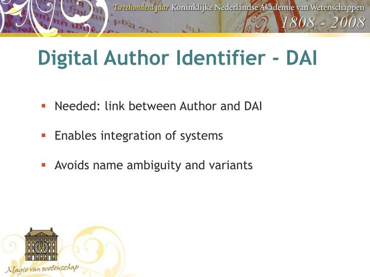 Digital Author Identifier - DAI