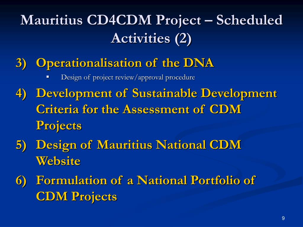 Mauritius CD4CDM Project – Scheduled Activities (2)