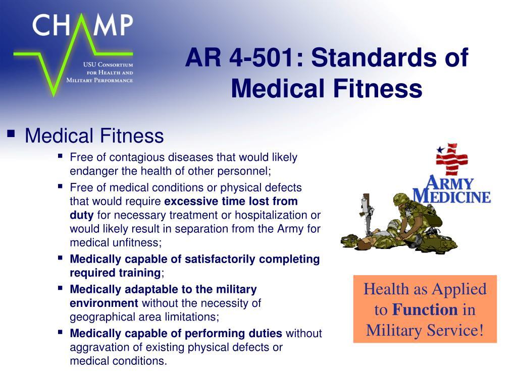 AR 4-501: Standards of Medical Fitness