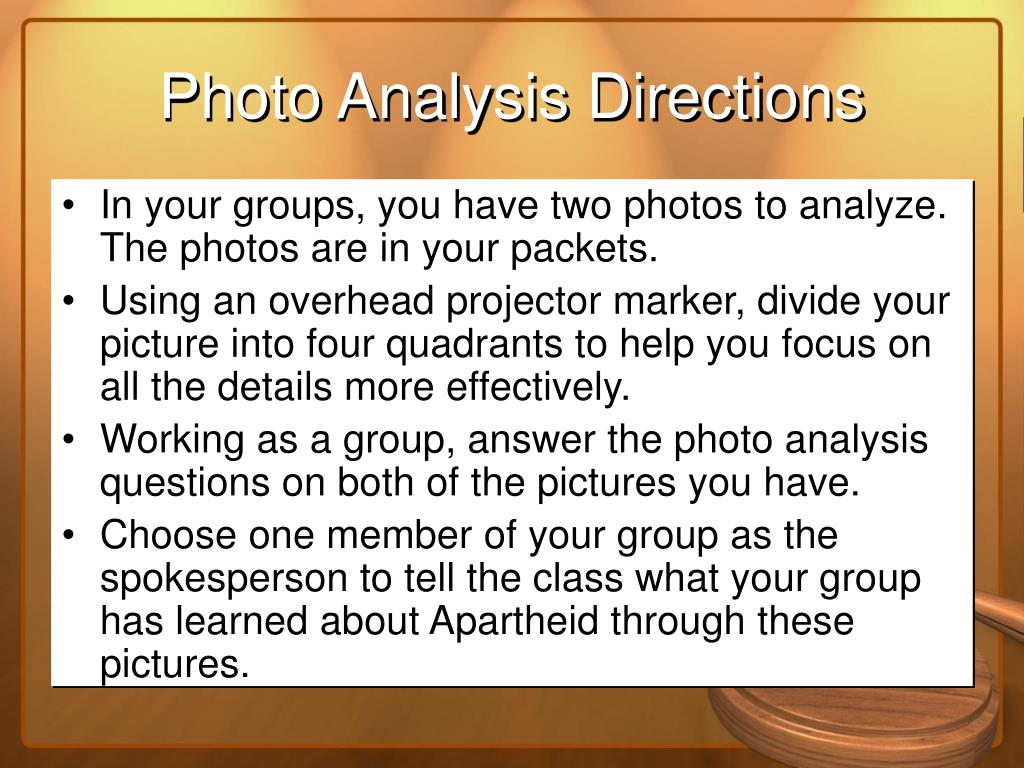 Photo Analysis Directions