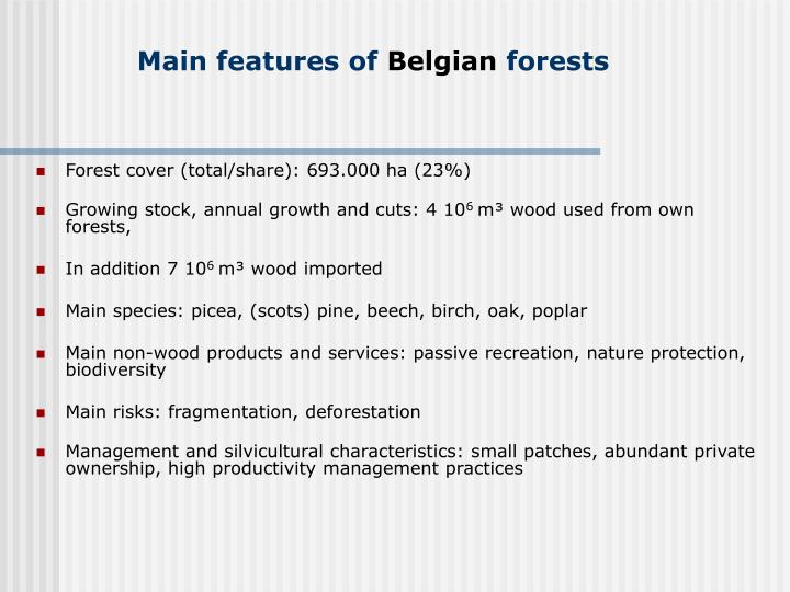 Main features of belgian forests
