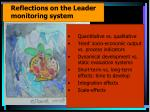reflections on the leader monitoring system