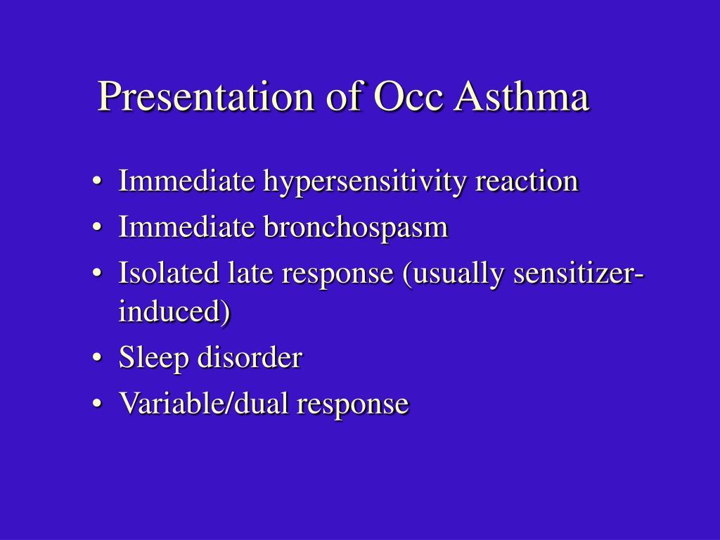 Presentation of Occ Asthma