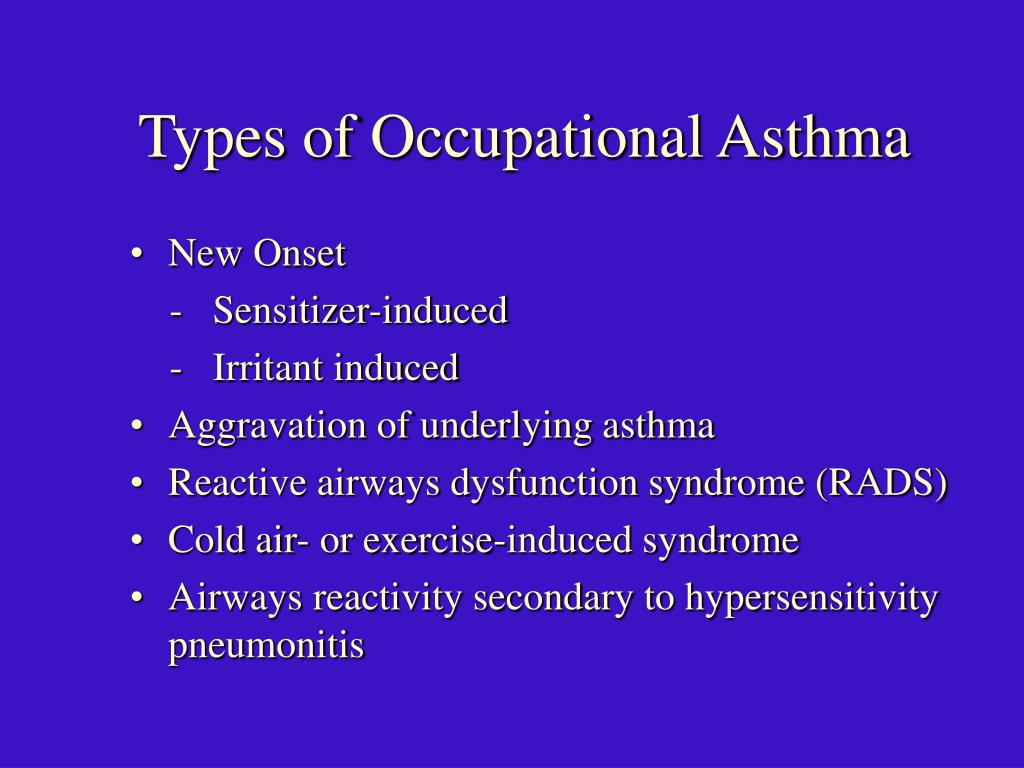 Types of Occupational Asthma