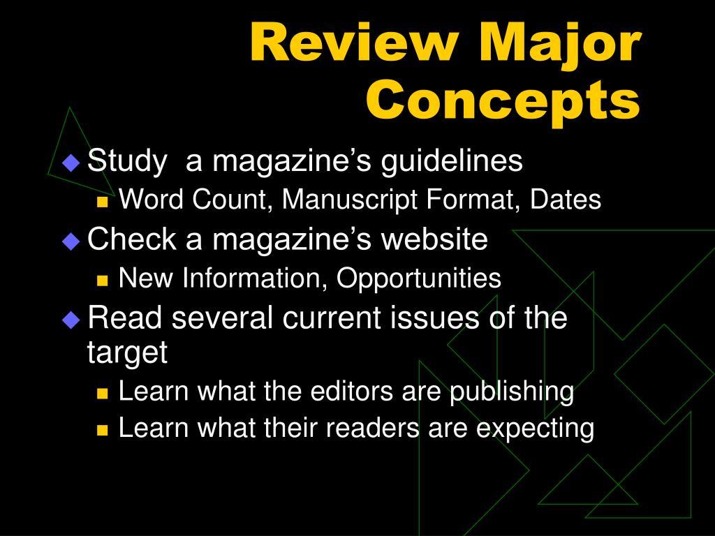 Review Major Concepts