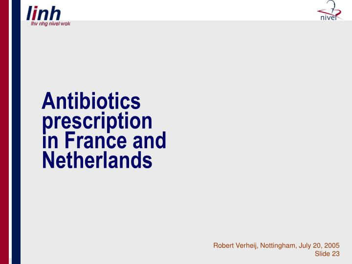 Antibiotics prescription in France and Netherlands
