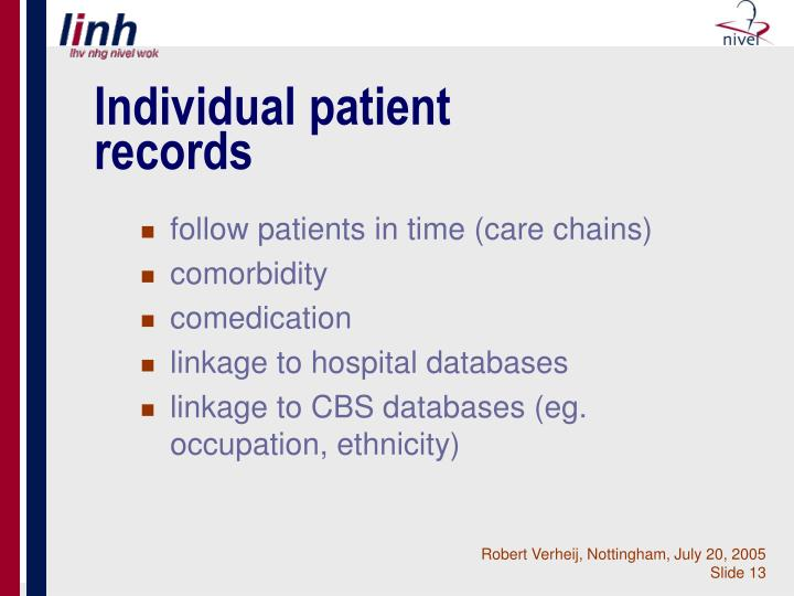 Individual patient records