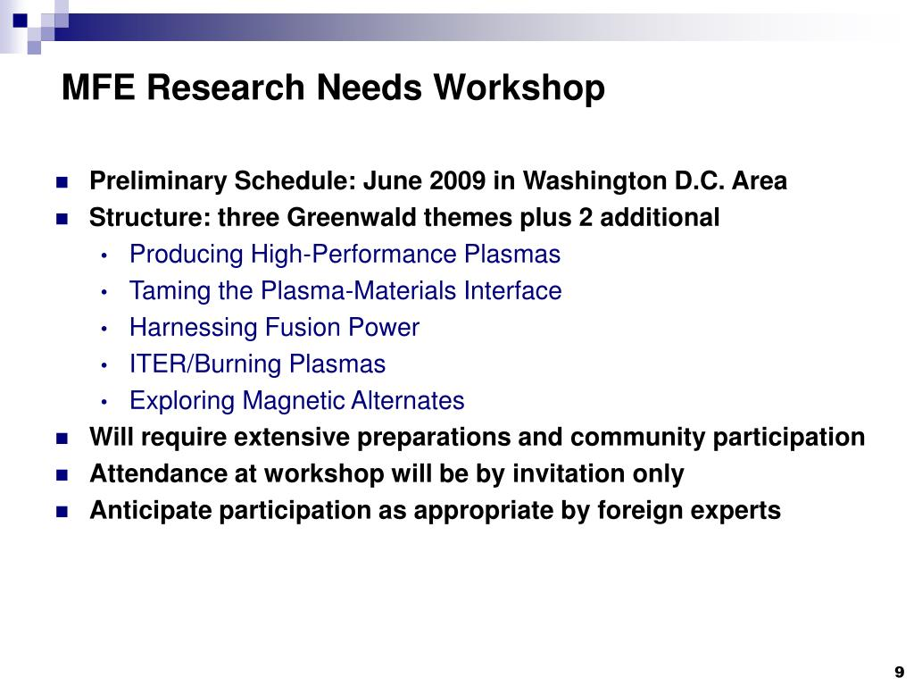 MFE Research Needs Workshop