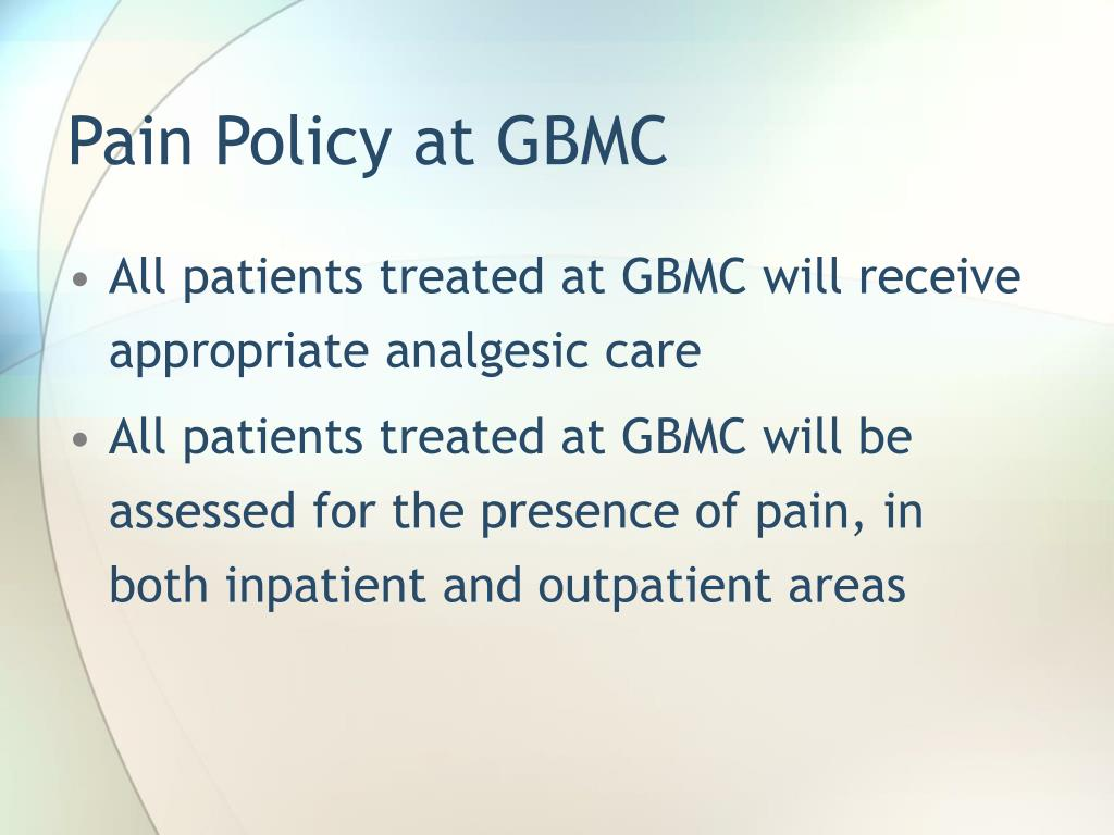 Pain Policy at GBMC