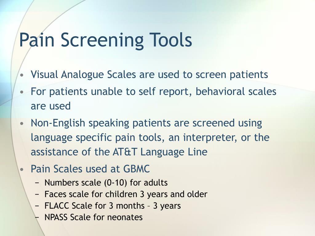 Pain Screening Tools