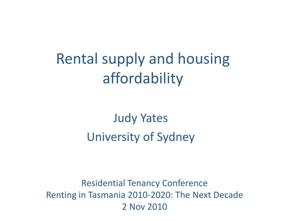 rental supply and housing affordability