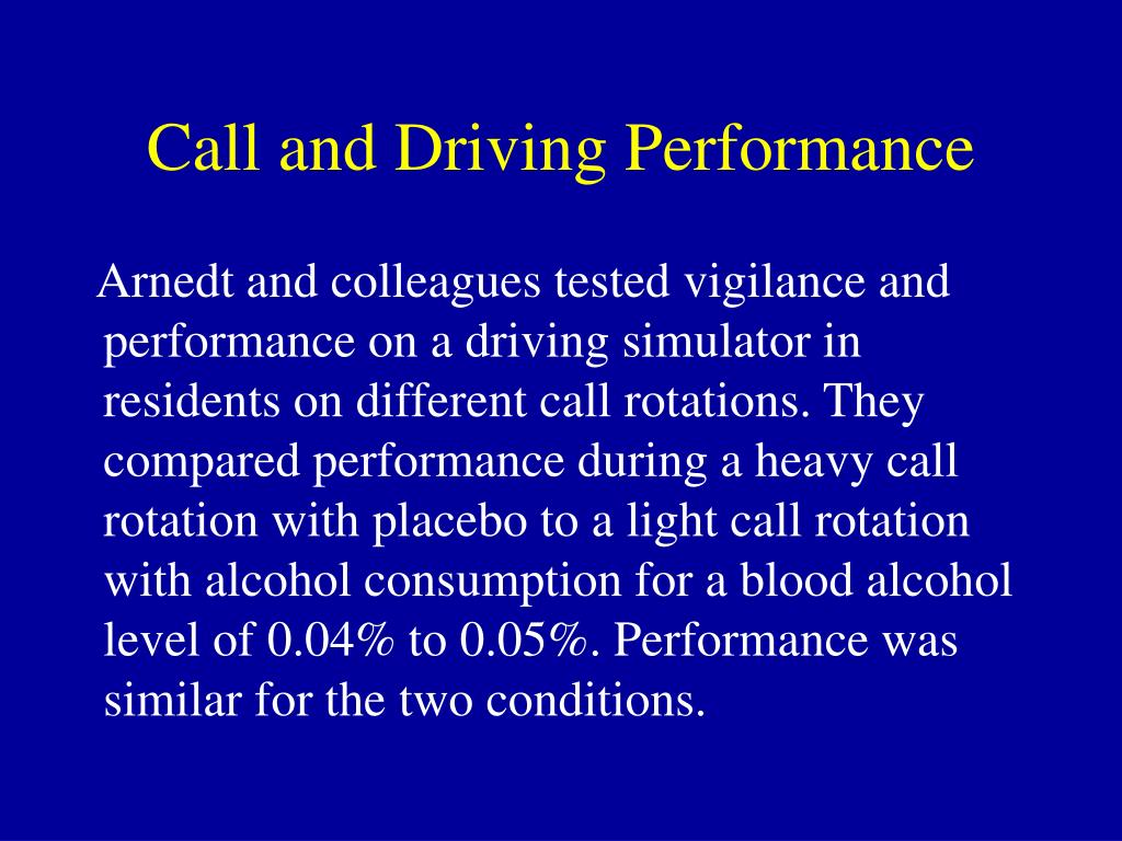 Call and Driving Performance