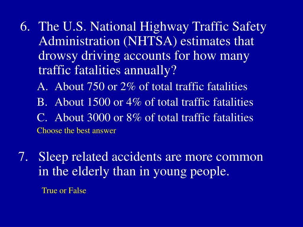 6.	The U.S. National Highway Traffic Safety Administration (NHTSA) estimates that drowsy driving accounts for how many traffic fatalities annually?