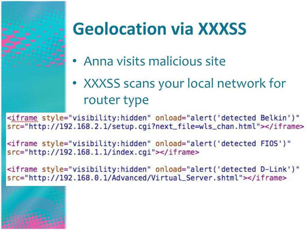 Geolocation via XXXSS