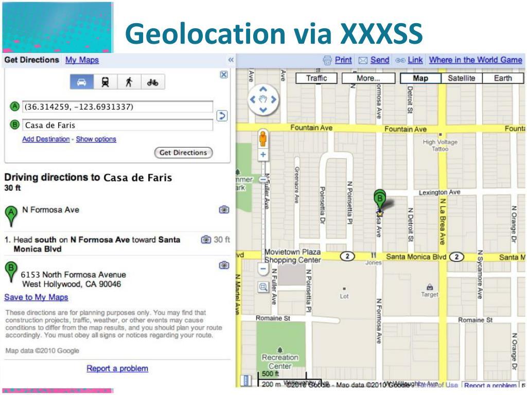 Geolocation via XXXSS