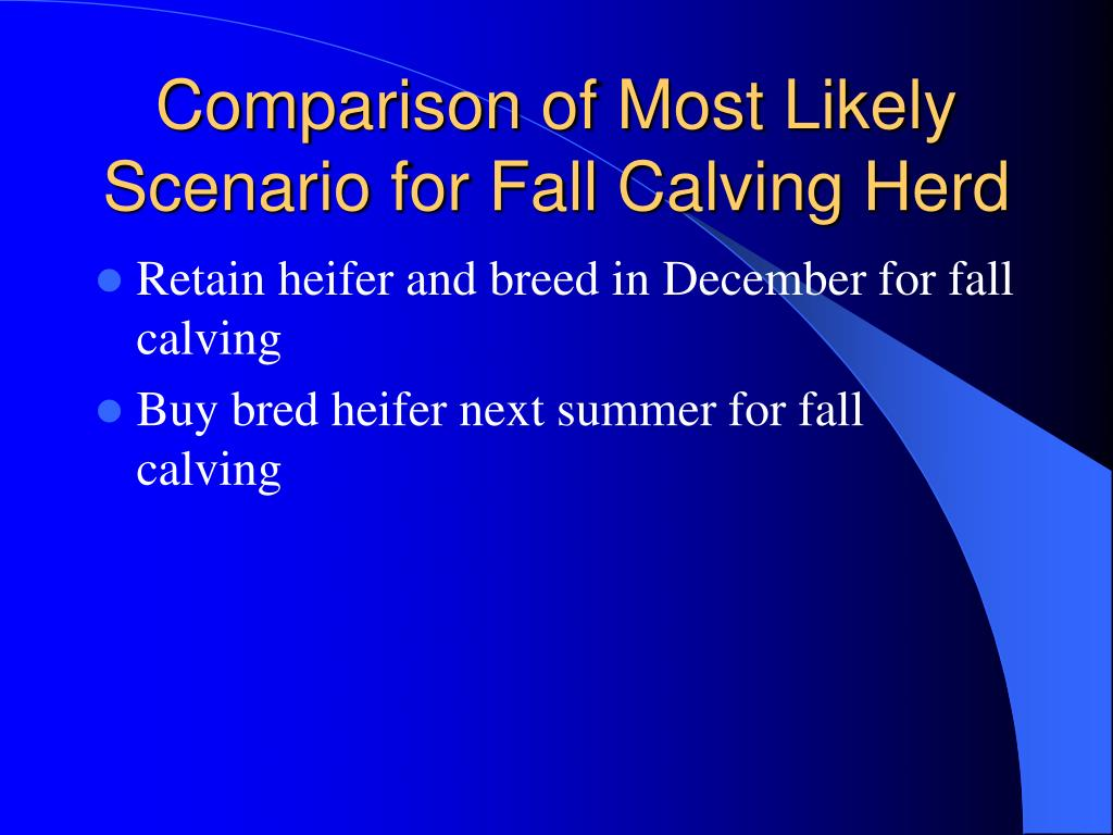 Comparison of Most Likely Scenario for Fall Calving Herd