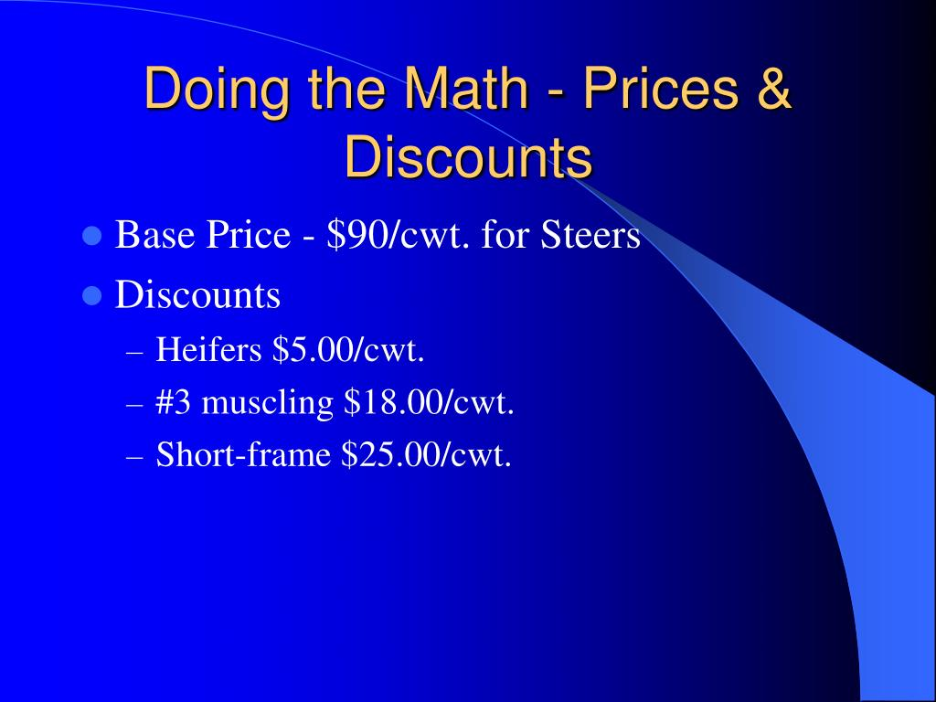 Doing the Math - Prices & Discounts