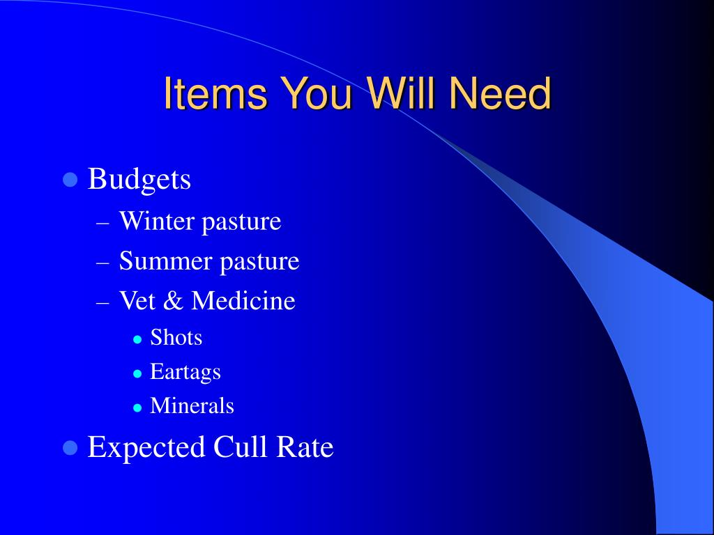 Items You Will Need