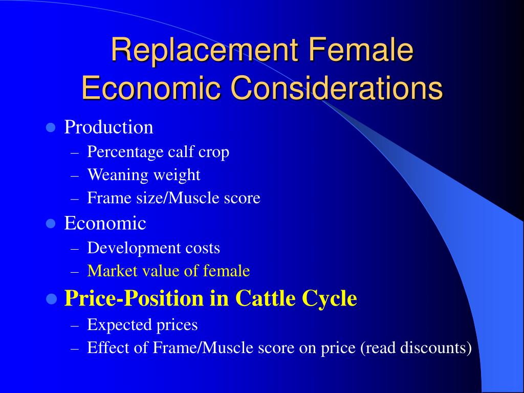 Replacement Female Economic Considerations