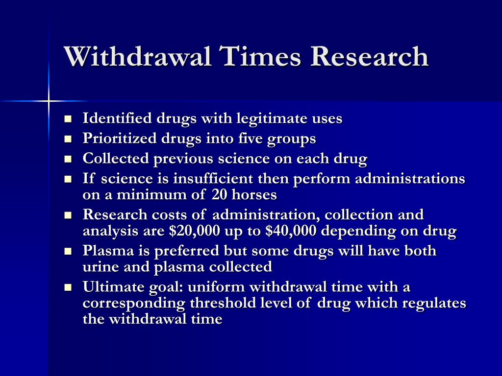 Withdrawal Times Research